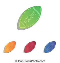 American simple football ball. Colorfull applique icons set.