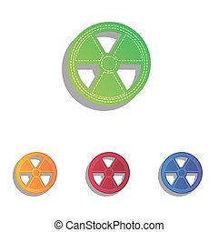 Radiation Round sign. Colorfull applique icons set.