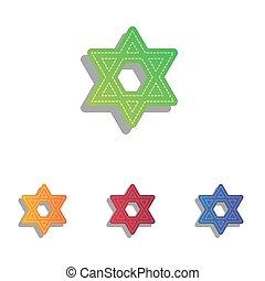 Shield Magen David Star. Symbol of Israel. Colorfull...