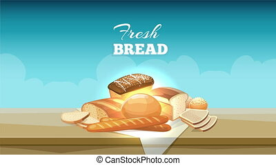 Bread banner animation with buns and loaves for bakery logos...