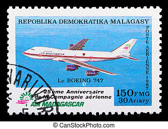Madagascar air mail stamp with airplane