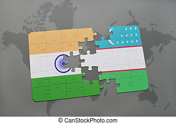 puzzle with the national flag of india and uzbekistan on a world map background.