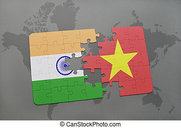 puzzle with the national flag of india and vietnam on a world map background.