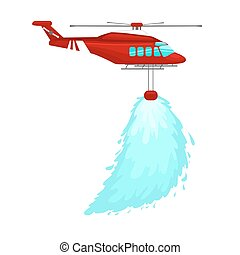 red emergency propeller helicopter in the air with water for extinguish danger fire. Rescue aircraft flight for water transportation isolated vector illustration