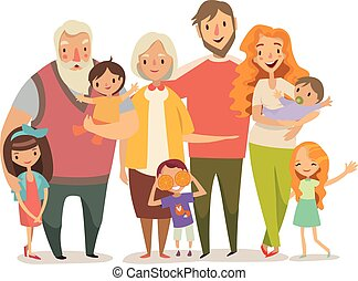 Big family portrait. Mother, father daughter, son, babies, grandparents