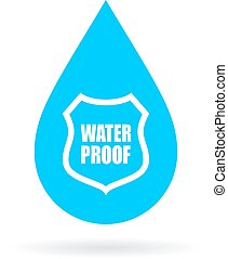 Water proof drop icon on white background