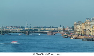 Trinity bridge timelapse and pier on the Palace embankment clear day in summer in Saint-Petersburg