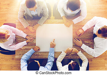 close up of business team with paper at table - business,...