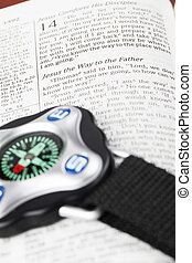 I am the Way - Compass on open Bible with focus on the text...