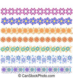 Flower trim collection - Colorful vector trim or border...