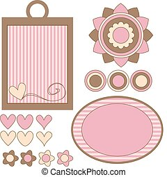 Pink and brown vector tags, flowers and hearts