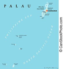 Palau Political Map - Palau political map with capital...