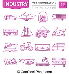 Transportation icon set Thin line design Vector illustration...