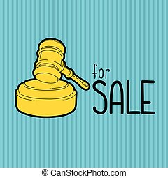 Gold gavel - hammer of judge or auctioneer. Big sale advertisement. Color illustration on blue background.