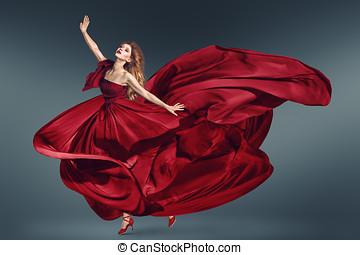 婦女, 跳舞, 衣服, 時裝, 顫動, 紅色