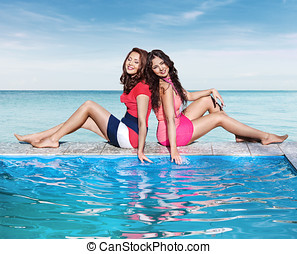 Two woman in resort