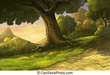 illustration forest and sunset beautiful - Illustration of...