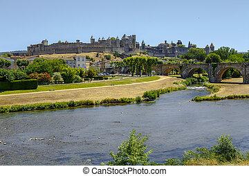 Castle of Carcassonne and Pont Vieux bridge France -...