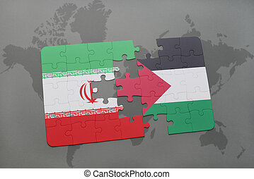 puzzle with the national flag of iran and palestine on a...