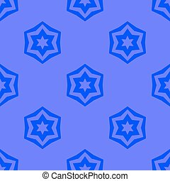 Seamless Blue Geometric David Star Background Ornamental...