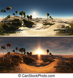 panoramic of palms in desert. made with the One 360 degree...