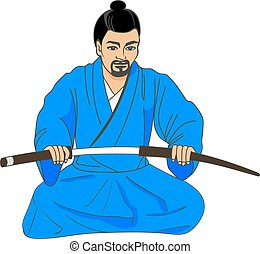 Vector illustration of a Japanese samurai ronin preparing...