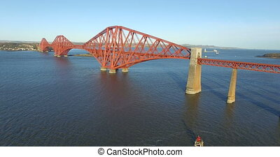 Aerial: Forth Rail Bridge, Scotland - Aerial: Forth Rail...