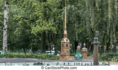 St. Petersburg. Mini City in the Alexander Park timelapse. Layout of Peter and Paul Cathedral