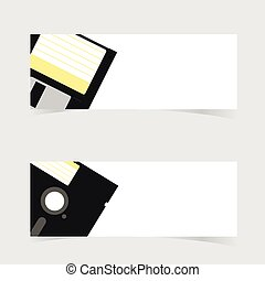 banner with floppy disc icon illustration on grey background