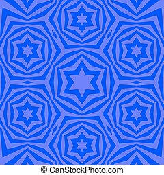 Geometric David Star Background. Ornamental Blue Pattern