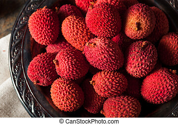 Raw Organic Red Lychee Berries Ready to Eat
