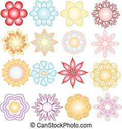 Colorful vector flower ornaments