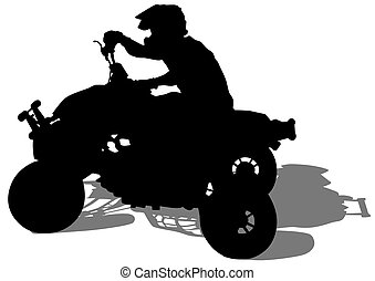 Quad sport race - Silhouettes athletes ATV during races on...