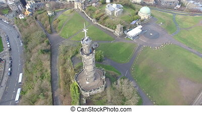Aerial: Nelson's monument, Scotland - Aerial: Nelson's...