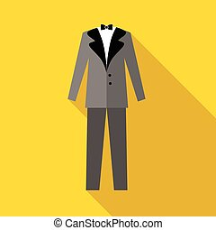 Mens wedding suit icon, flat style