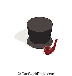 Hat and smoking pipe icon, isometric 3d style - Hat and...