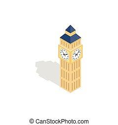 Big Ben icon, isometric 3d style