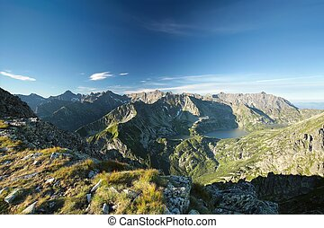 Tatra Mountains at sunrise - High peaks over the valley in...