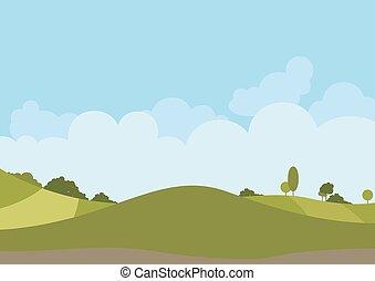Spring Green Landscape - Background Illustration, Vector