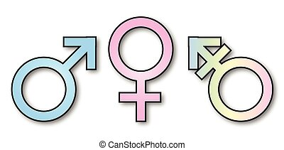 3 Gender Signs.eps - Three gender depiction signs over a...