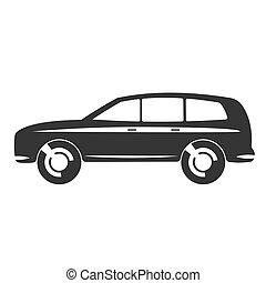 Car vector icon - Flat clipart estate car black vector icon