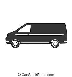 Car vector icon - Flat clipart van car black vector icon