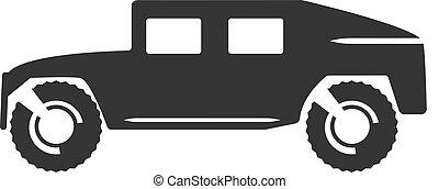 Car vector icon - Flat clipart military car black vector...