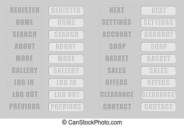 Vector. Grey web buttons. Isolated buttons for internet: search button,home button,shop,log in button, log out button,gallery button,contact button, basket button, sales, gallery...Plus pushed buttons