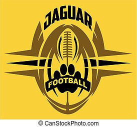 jaguar football team design with paw print for school,...