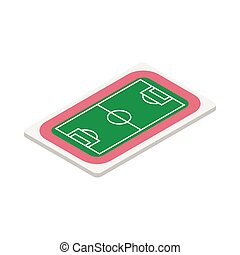 Soccer field icon, isometric 3d style