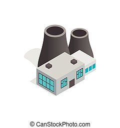 Thermal power station icon, isometric 3d style