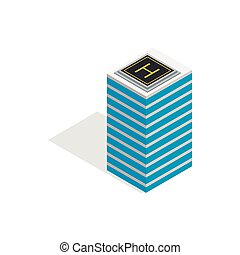 Helicopter landing pad icon, isometric 3d style