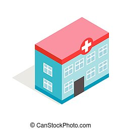 Hospital building icon, isometric 3d style - Hospital...