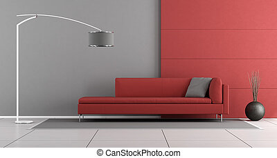 Red and gray modern lounge with modern sofa and floor lamp -...